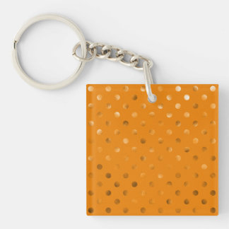 Bronze Gold Metallic Faux Foil Polka Dot Orange Key Ring