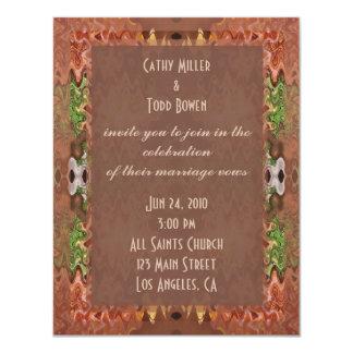 bronze green abstract wedding 4.25x5.5 paper invitation card