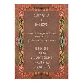 bronze green abstract wedding announcement