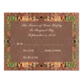 bronze green abstract wedding 11 cm x 14 cm invitation card