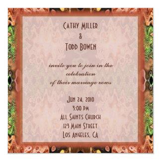 bronze green wedding invites
