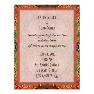 bronze green wedding 4.25x5.5 paper invitation card