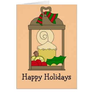 Bronze Lantern Christmas Candle Greeting Card