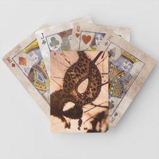 bronze leopard print maschera playing cards
