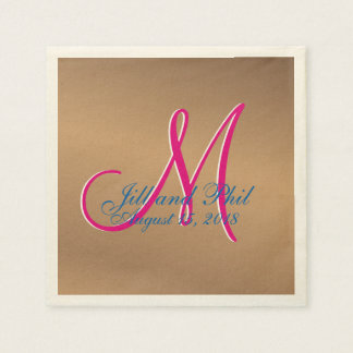 Bronze Light 3d Monogram Paper Napkin
