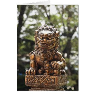 Bronze lion statue card