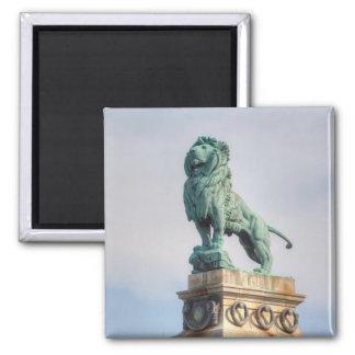 Bronze Lion Statue Square Magnet