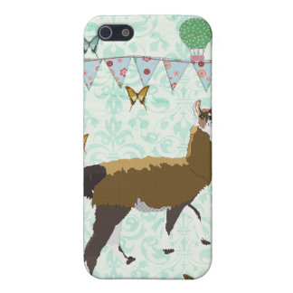 Bronze Llama Blue Damask i iPhone 5/5S Cover
