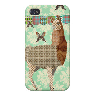 Bronze Llama & Butterflies Mint Julep Damask iPhon iPhone 4 Case