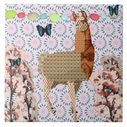 Bronze Llama Pink Retro Floral Tile
