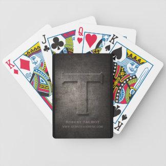 Bronze Metal T Monogram Customizable Playing Cards