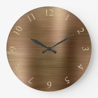 Bronze Metallic Minimal Glitter Gold US UK Numbers Large Clock