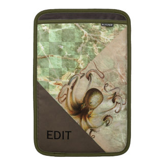 Bronze Octopus Green Aged Paper Brown Velvet Look MacBook Sleeve