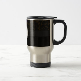 Bronze on Black Floral Wisps, Stripes & Monogram Travel Mug