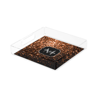 Bronze Orange Brown glitters sparkles Monogram Acrylic Tray