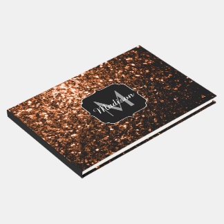 Bronze Orange Brown glitters sparkles Monogram Guest Book