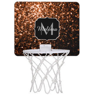 Bronze Orange Brown glitters sparkles Monogram Mini Basketball Hoop