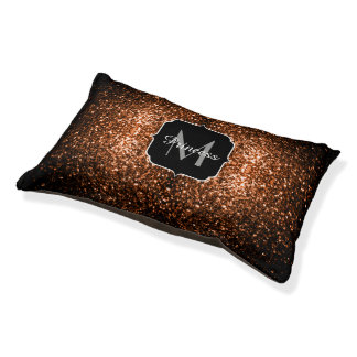 Bronze Orange Brown glitters sparkles Monogram Pet Bed