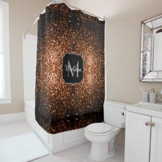 Bronze Orange Brown glitters sparkles Monogram Shower Curtain