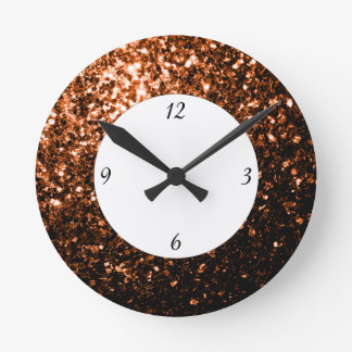 Bronze Orange Brown glitters sparkles with numbers Round Clock