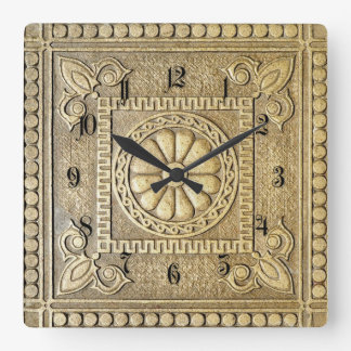 Bronze plate square wall clock