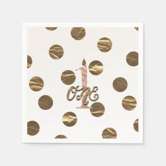 Bronze Polka Dots Rose Gold ONE 1 1st Birthday Disposable Napkin