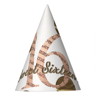 Bronze Polka Dots Rose Gold Sweet 16 Birthday Party Hat