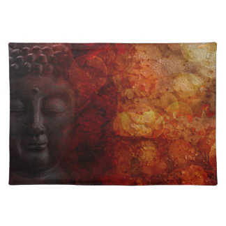 Bronze Red Zen Buddha Statue Meditating Front Placemat