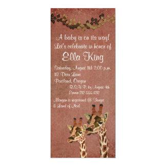 "Bronze Rosa Giraffes Baby Invitation 4"" X 9.25"" Invitation Card"