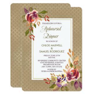 Bronze Rose Gold Pattern Wedding Dinner Invitation