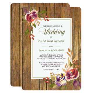 Bronze Rose Warm Wood Wedding Invitation