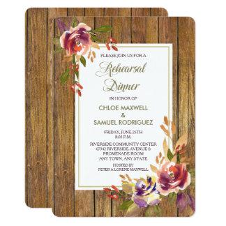 Bronze Rose Wood Floral Wedding Dinner Invitation