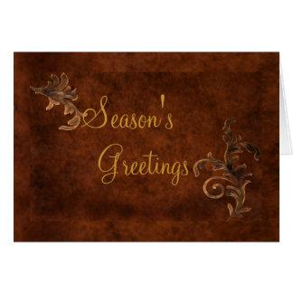 Bronze Scroll Leaf Holiday Greeting Card