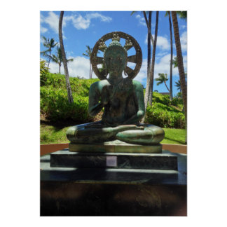 Bronze Seated Buddha, Waikoloa, Hawaii Poster