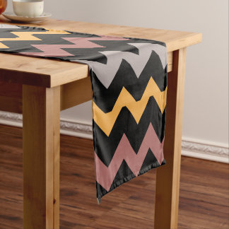 Bronze Silver and Gold on Black Short Table Runner