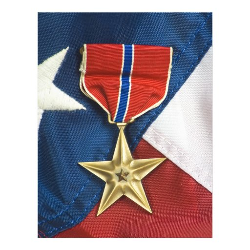 Bronze Star on American flag Personalized Flyer