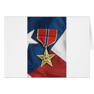Bronze Star on American flag Greeting Card
