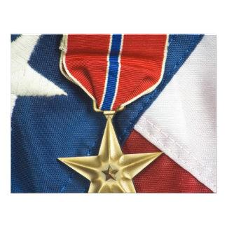 Bronze Star on American flag Custom Invitation