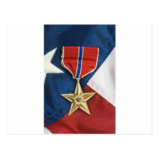 Bronze Star on American flag Postcards