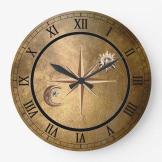 bronze sun and moon wall clock