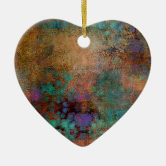Bronze, Teal, Purple Abstract Ceramic Heart Decoration