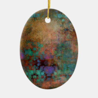 Bronze, Teal, Purple Abstract Ceramic Oval Decoration