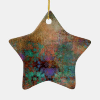 Bronze, Teal, Purple Abstract Ceramic Star Decoration