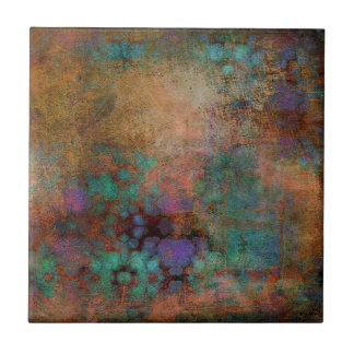 Bronze, Teal, Purple Abstract Ceramic Tile