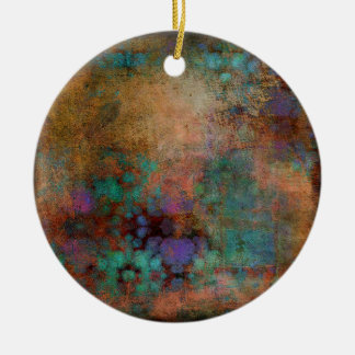 Bronze, Teal, Purple Abstract Round Ceramic Decoration
