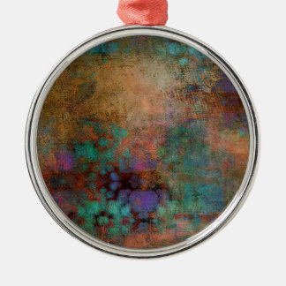 Bronze, Teal, Purple Abstract Silver-Colored Round Decoration
