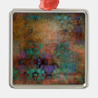 Bronze, Teal, Purple Abstract Silver-Colored Square Decoration