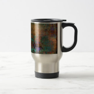 Bronze, Teal, Purple Abstract Travel Mug