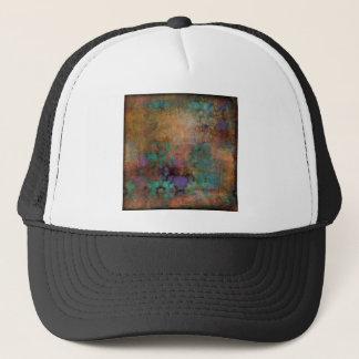 Bronze, Teal, Purple Abstract Trucker Hat