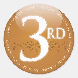 Bronze Third Place (3rd) Award Classic Round Sticker